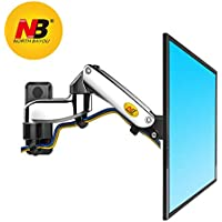 North Bayou TV Monitor Wall Mount Bracket Full Motion Articulating Swivel for 17-27 Inch Display Monitor with Gas Spring (chrome-plating double extension)