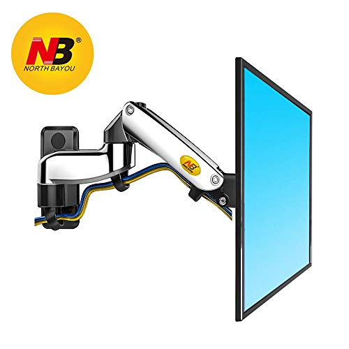 North Bayou TV Monitor Wall Mount Bracket Full Motion Articulating Swivel for 17-27 Inch Display Monitor with Gas Spring (chrome-plating double extension) by NB North Bayou