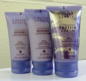 - Alterna Caviar Repair Travel Trio: Instant Recovery Shampoo & Conditioner & Re-Texturizing Protein Cream 1.35 oz each