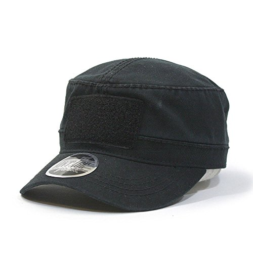 Washed Cadet Cotton Twill Adjustable Military Radar Caps (Various Colors) (Black Strap with Loop Patch)