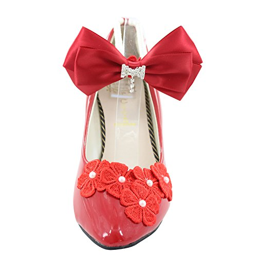 Red Heel Shoes 8cm PU White Wedding Msmushroom Party Woman's O81qwZ