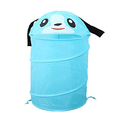 DELIFUR Laundry Hamper Clothes Basket Dirty Clothes Storage Cartoon Kid Pop-up and Collapsible Design for Children Clothes (Blue) ()