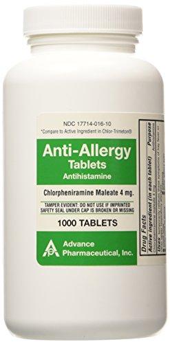 Anti-Allergy Antihistamine Chlorpheniramine Maleate 4 mg Generic for Chlor-Trimeton Allergy 1000 Tablets per Bottle 2 PACK Total 2000 tablets (Tab Chlor)