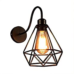 JINGUO Lighting Industrial Vintage 1-Light Wall Sconce Wall Lamp Lights Sconces Fixture with Wrought Iron Diamond Shape Metal Cage Frame for Indoor Restaurant Bar Cafe Club Hallway