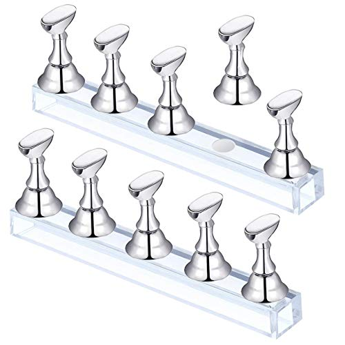 2 Set Golden Acrylic Nail Art Display Stand Magnetic Nail Tips Practice Holder Stand DIY Display Stands for False Nail Tip Manicure Tool Home Salon (golden)