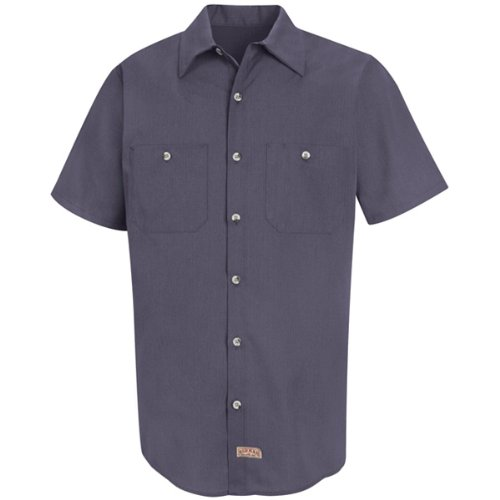 Red Kap Men's Geometric Micro-Check Work Shirt, Blue/Charcoal, Short Sleeve 2X-Large
