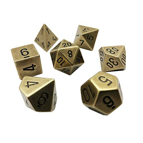 Chessex: 7-Die Set Metal: Old Brass Color - - Chessex Dice Metal