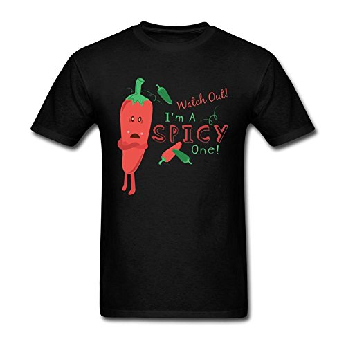 JustLikeSun Men's Watch Out I'm A Spicy Cartoon T Shirt (Tennessee Schedule Watch)