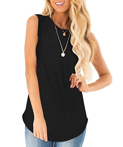 Sousuoty Loose Tank Tops for Women Classic Round Neck Tunic Solid Black - Sleeveless Top Classic Tank