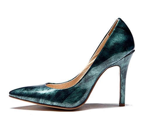 Pointed Green off TDA Evening Stiletto Brush Toe Party Leather Dress Sexy Dark Patent Shoes Women's 5nxBAg