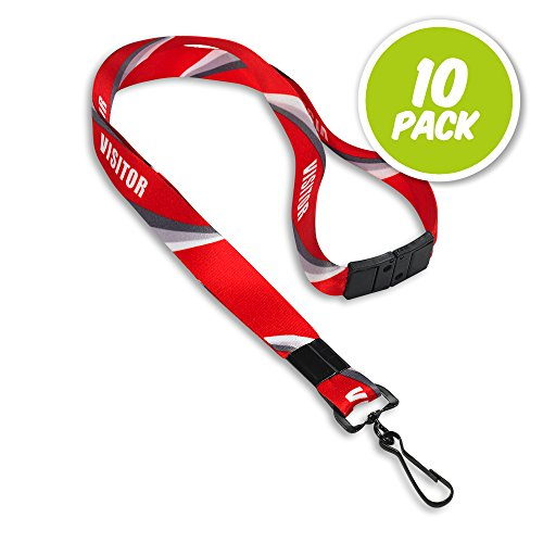 (Visitor and Guest Red Lanyards with Breakaway Release - Pre-Designed Visitor Identification - Premium Nylon - Metal J-Hook - 10 Pack)