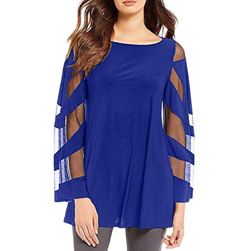 Price comparison product image OFEFAN Womens 3 / 4 Bell Sleeve V Neck Lace Patchwork Blouse Casual Loose Shirt Tops Blue