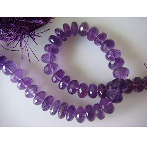 Earth Gems Park Super Fine Quality Gems Jewelry 1 Strand Natural Amethyst Rondelles - 8mm Approx, Micro Faceted Rondelles 8 inch Code:- BF-17109