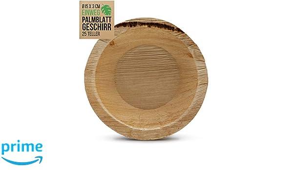 int!rend 25 cuencos desechables de hoja de palma | ø 15x3 cm ...