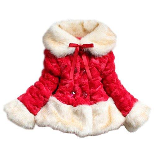 Price comparison product image Yo Coco Girls Faux Fur Fleece Lapel Coat Kids Jacket Outwear Red 6T