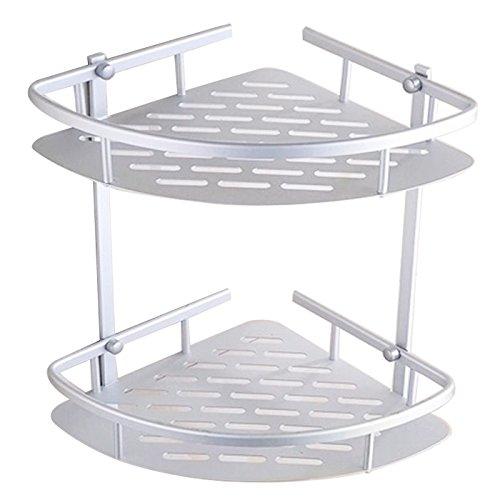 Risingmed 2 Etages étagère d'angle de salle de bain, Panier de rangement de douche en Aluminium Barre porte-serviettes, étagère Rack Organiseur avec crochets, accessoires de salle de bain