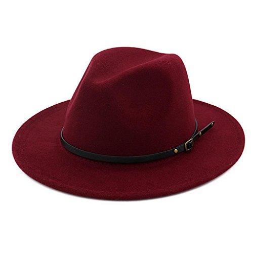 Maroon Womens Hat - Lisianthus Women Belt Buckle Fedora Hat Claret-red
