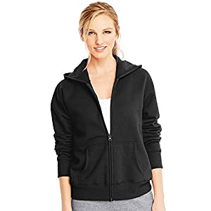 Hanes ComfortSoft EcoSmart Women's Full-Zip Hoodie Sweatshirt_Ebony_XL