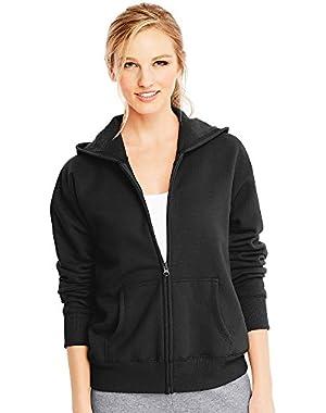 Hanes ComfortSoft EcoSmart Women's Full-Zip Hoodie Sweatshirt_Ebony_XL!