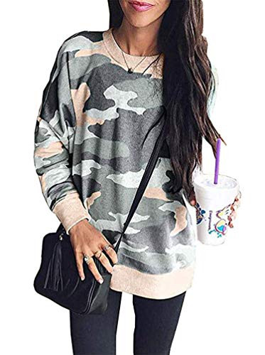 Women's Camo Sweatshirt, Scoop Neck Long Sleeve T Shirt Pullover Tops Solid Flowy Knitted Blouse Slim Fit Khaki L
