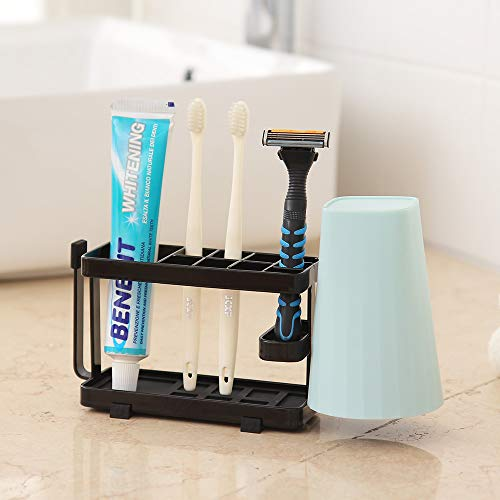 ORZ Toothbrush and Toothpaste Holder for Bathroom Countertop Countertop Black Large Capacity Bathroom Storage Organizer with Cup Stand for Electronic Toothbrush Kids Comb Shaver - Black