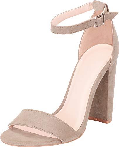 Cambridge Select Women's Single Band Ankle Strap Chunky Block Heel Sandal,10 B(M) US,Khaki IMSU