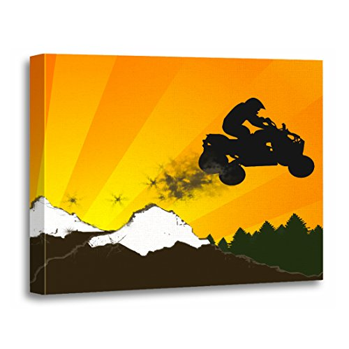 rt Print Atvs Quads Orange Sunset Polaris Yamaha Kawasaki Dirt Artwork for Home Decor 16