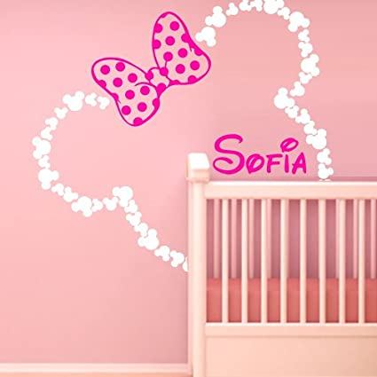 46x42u0027u0027 Mickey Mouse Ears Minnie with Bow Personalized Baby Name Wall Decal Decor Decals  sc 1 st  Amazon.com & Amazon.com: 46x42u0027u0027 Mickey Mouse Ears Minnie with Bow Personalized ...