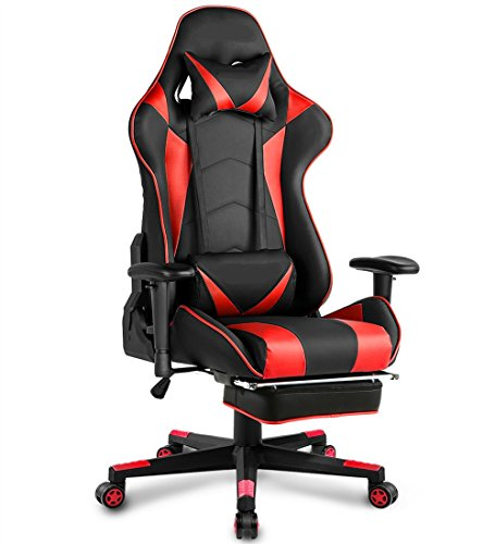 TIGO Gaming Chair Ergonomic Video Game Chairs Memory Foam Computer Chair High Back Leather Office Chair Desk Chair with Neckrest and Lumbar Cushion (Red) Review
