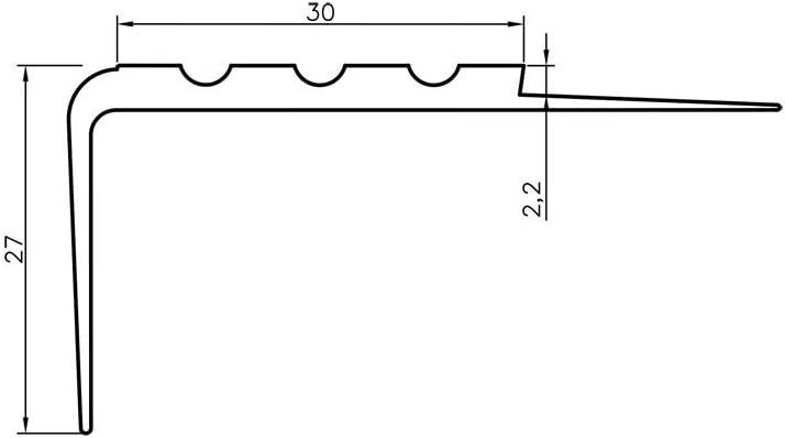 Antideslizante Perfil para cantos de escaleras Escaleras ángulo perfil PVC Goma RM, 1.5 metros, 30 x 27 mm: Amazon.es: Bricolaje y herramientas