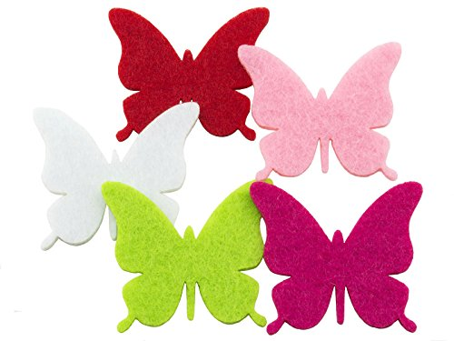 Summer-Ray 100pcs Colorful Felt Butterfly Die Cut Embellishment