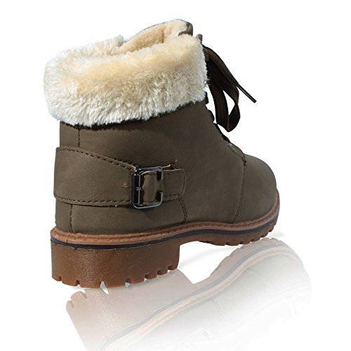 WOMENS LACE UP COLLAR FUR LINED WINTER WARM LADIES ANKLE BOOT SIZE 3-8 Kahki