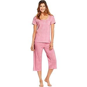 Hanes Womens Lace Trim Henley Capri PJ Set, L, Pink Nectar