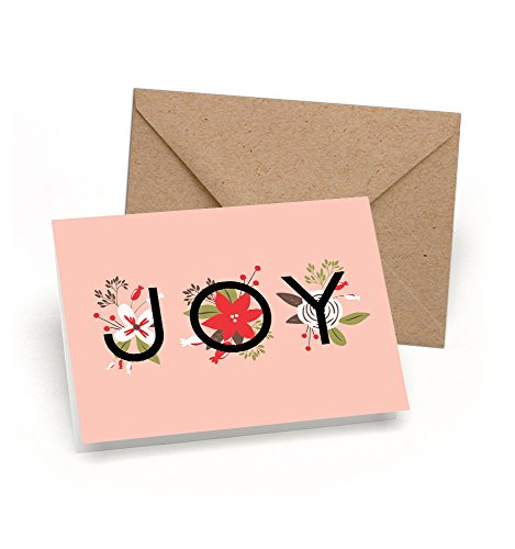 Simple Joy Holiday Card Boxed Set - Soft Pink Floral Christmas Cards with Kraft Envelopes Included - Blank Holiday Greeting Cards Bulk Box Set - Proudly Made in the USA By Palmer Street Press (12)