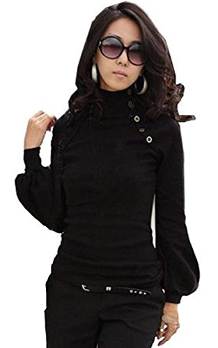 Zeagoo Womens Autumn Turtleneck Lantern Shirts Tops