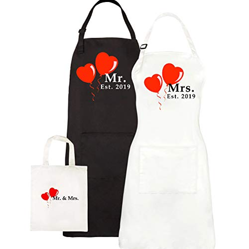 Mr. and Mrs. Aprons Est. 2019, Couples Wedding Engagement Gifts, His Hers Bridal Shower Gift Set, With Gift Bag By Let the Fun Begin (Wedding Shower Ideas)