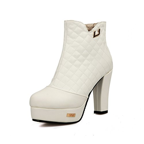 AdeeSu Womens Chunky Heels Back Zipper Platform Imitated Leather Boots White