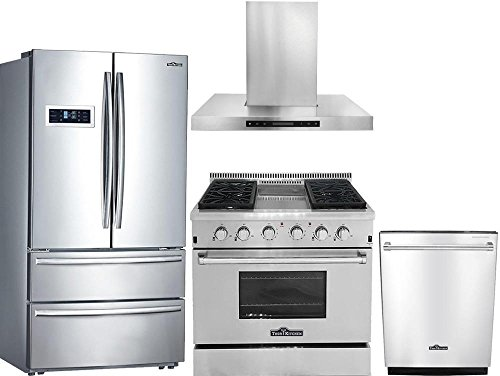 (Thor Kitchen 4-Piece Stainless Steel Kitchen Package HRF3601F 36