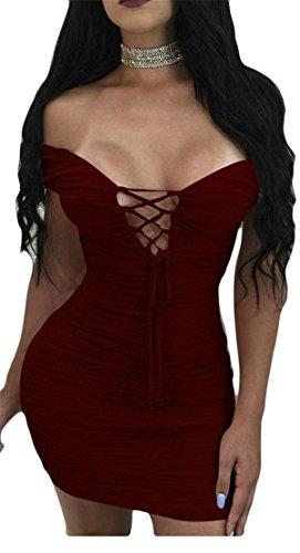 Ruched Sexy Shoulder Women up Bodycon Off Dresses Claret Cromoncent Zipper Tie Lace tXFqw6S