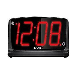 Sharp 1.8 JUMBO Display + NIGHTLIGHT Digital Black Alarm Clock