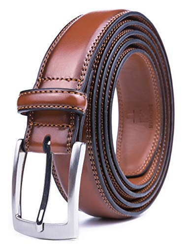 Milorde's Men Genuine Leather Belt with Single Prong Buckle, Fashion & Classic Design for Dress and Causal (Size 40 (Waist 38), Basic ()