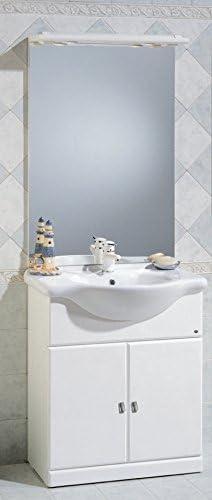 Arredo Bagno In Ceramica.Bagno Italia Mobile Arredo Bagno Da Cm 75 Bianco Lucido Con Lavabo In Ceramica E Specchio Mobili 1 L Amazon It Fai Da Te