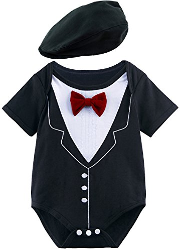 (A&J DESIGN Infant Boys' Tuxedo Bodysuit with Hat (6-12 Months, Red))