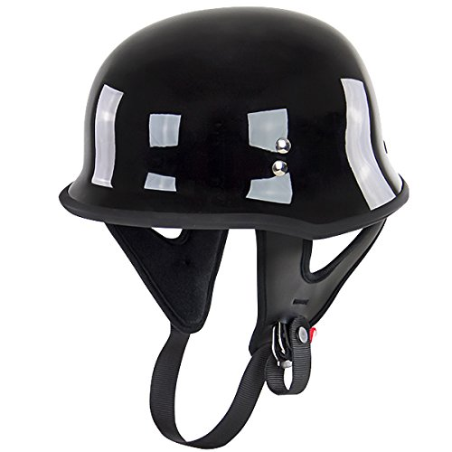 Outlaw T-75 German Style Black Half Helmet - - Gloss Dot Outlaw