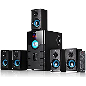 beFree Sound 5.1 Channel Bluetooth Home Stereo System with USB and SD Slots-Blue