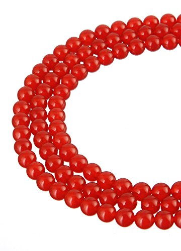 (wanjin Chalcedony Gemstone Loose Beads red jade 4mm Round Crystal Energy Stone Healing Power for Jewelry)
