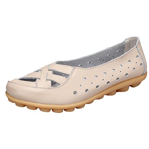 2 ZY005 Beige Sandalias Casual Style Cuero De Tacón Mujeres Bajo Nuevo Zapatos Vogstyle z4wqPg17W