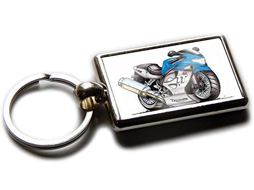 Koolart Cartoon Motorbike Triumph 600cc TT Chrome Keyring Picture Both Sides (Blue) (Motor 600cc)