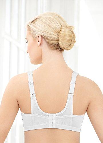 Glamorise - Glamorise Sport – Der ultimative Sport-BH für große Größen - Soutien-Gorge Femme, Blanc (Weiss 110), 105F
