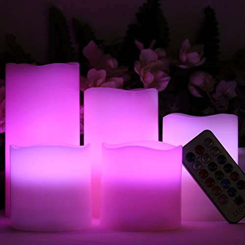 LED Lytes Flameless Candles Multicolor - Large Set of 5 Round Ivory Wax with Flickering Rotating Color Flame, auto-off Timer Remote Control For Weddings and Gifts by LED Lytes (Image #2)